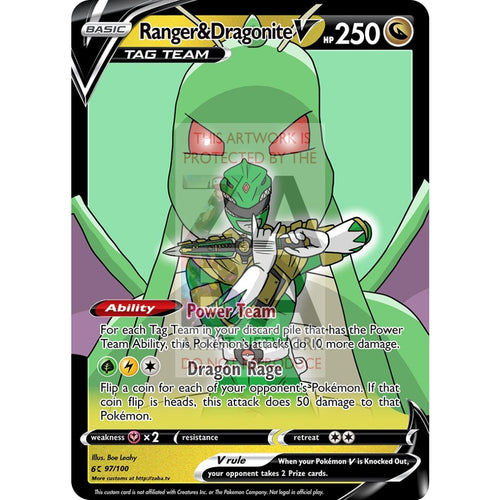 Ranger & Dragonite V Custom Pokemon Card Silver Foil / With Text