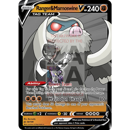 Ranger & Mamoswine V Custom Pokemon Card Silver Foil / With Text