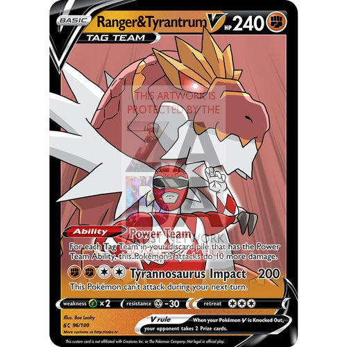Ranger & Tyrantrum V Custom Pokemon Card Silver Foil / With Text