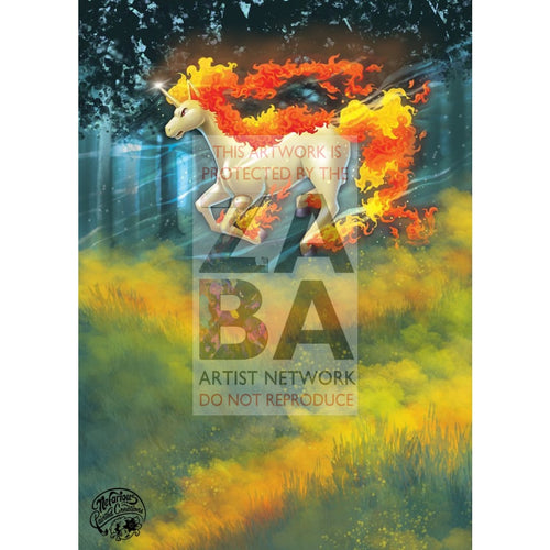 Rapidash 24/136 Cosmic Eclipse Extended Art Custom Pokemon Card Silver Holo
