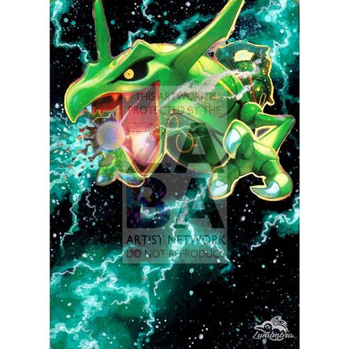 Rayquaza Ex 75/108 Roaring Skies Extended Art Custom Pokemon Card Textless Silver Holographic