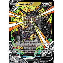 Rayquaza V (Stained-Glass) Custom Pokemon Card Shining / With Text Silver Foil