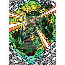 Rayquaza V (Stained-Glass) Custom Pokemon Card Standard / Textless Silver Foil