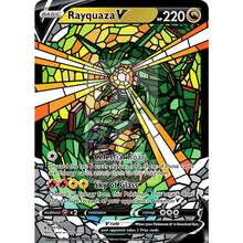 Rayquaza V (Stained-Glass) Custom Pokemon Card Standard / With Text Silver Foil