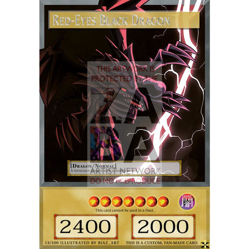Red-Eyes Black Dragon Full Art Orica - Custom Yu-Gi-Oh! Card Silver Foil
