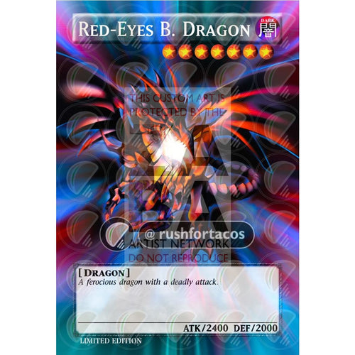 Red Eyes Black Dragon V4 Full Art Orica - Custom Yu-Gi-Oh! Card Silver Holographic