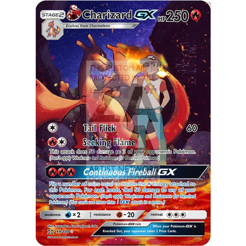 Reds Charizard Gx Custom Pokemon Card Silver Holographic