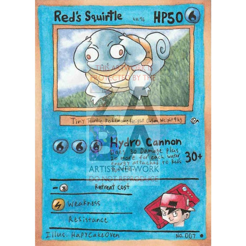 Reds Squirtle - Adventure Time Custom Pokemon Card Silver Foil