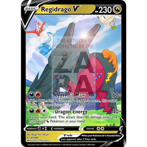 Regidrago V Custom Pokemon Card Silver Foil