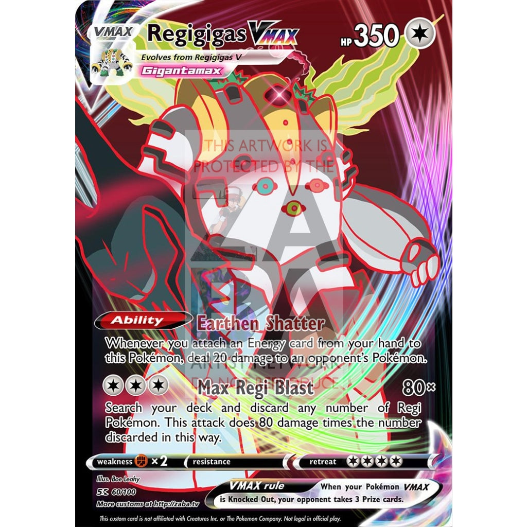 Regigigas Vmax Custom Pokemon Card Silver Foil