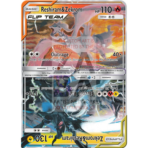 Reshiram&zekrom Flip Team Custom Pokemon Card