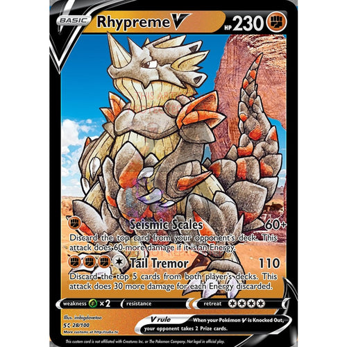 Rhypreme V Custom Pokemon Card Silver Foil