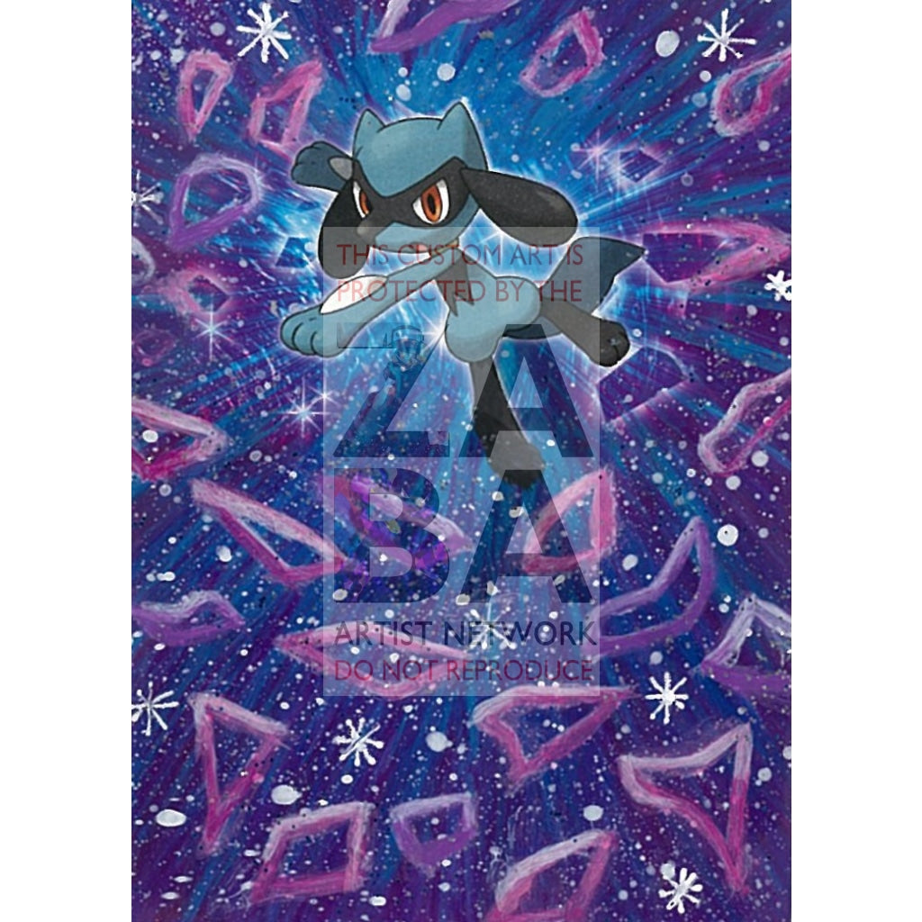 Riolu 75/135 Plasma Storm Extended Art Custom Pokemon Card Textless Silver Holographic