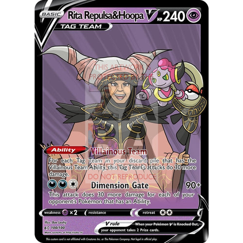Rita Repulsa & Hoopa V Custom Pokemon Card Silver Foil / With Text