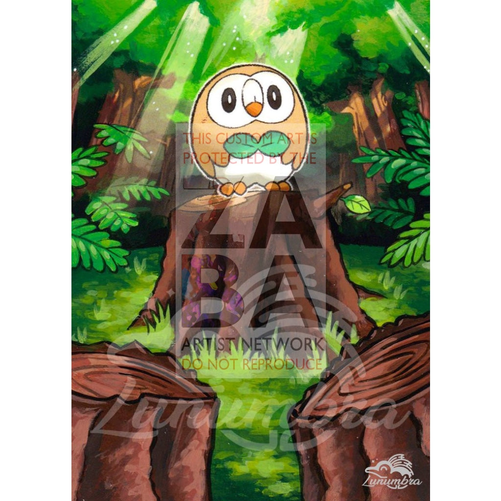 Rowlet 9/149 Sun & Moon Extended Art Custom Pokemon Card Textless Silver Holographic