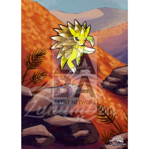 Sandslash 41/62 Fossil Extended Art Custom Pokemon Card Textless Silver Holographic