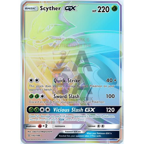 Scyther Gx Rainbow Rare Custom Pokemon Card