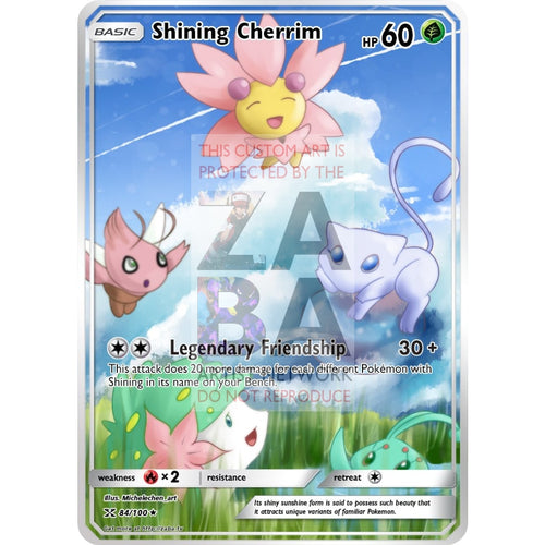 Shining Cherrim Custom Pokemon Card Silver Holo