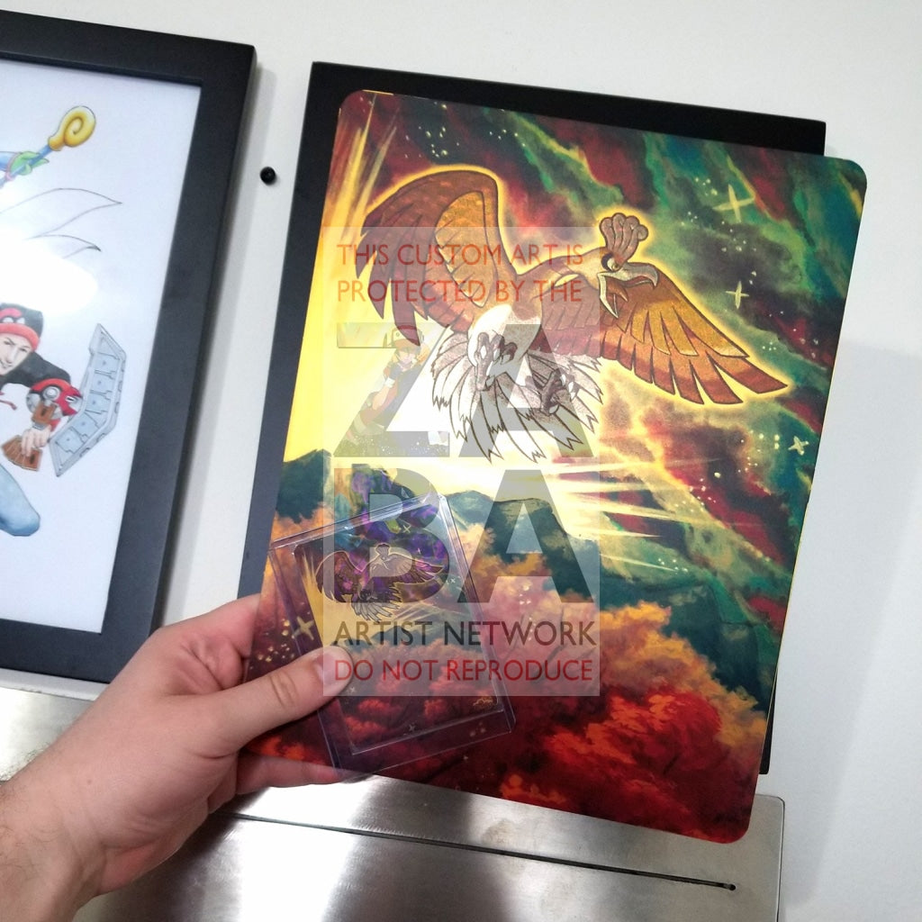 Shining Ho-Oh Sm70 8X10.5 Gold Holographic Poster + Card Gift Set Custom Pokemon