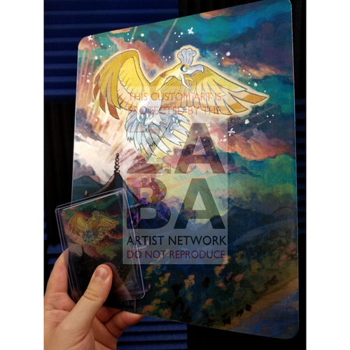Shining Ho-Oh Sm70 8X10.5 Holographic Poster + Card Gift Set Custom Pokemon