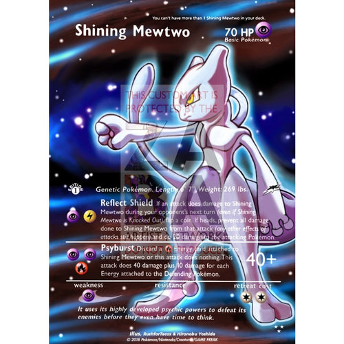 Shining Mewtwo 109/105 Neo Destiny Extended Art Custom Pokemon Card Silver Holographic