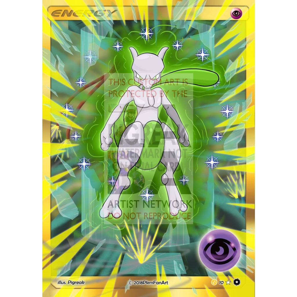 Shining Mewtwo Psychic Energy Pigreak Custom Pokemon Card