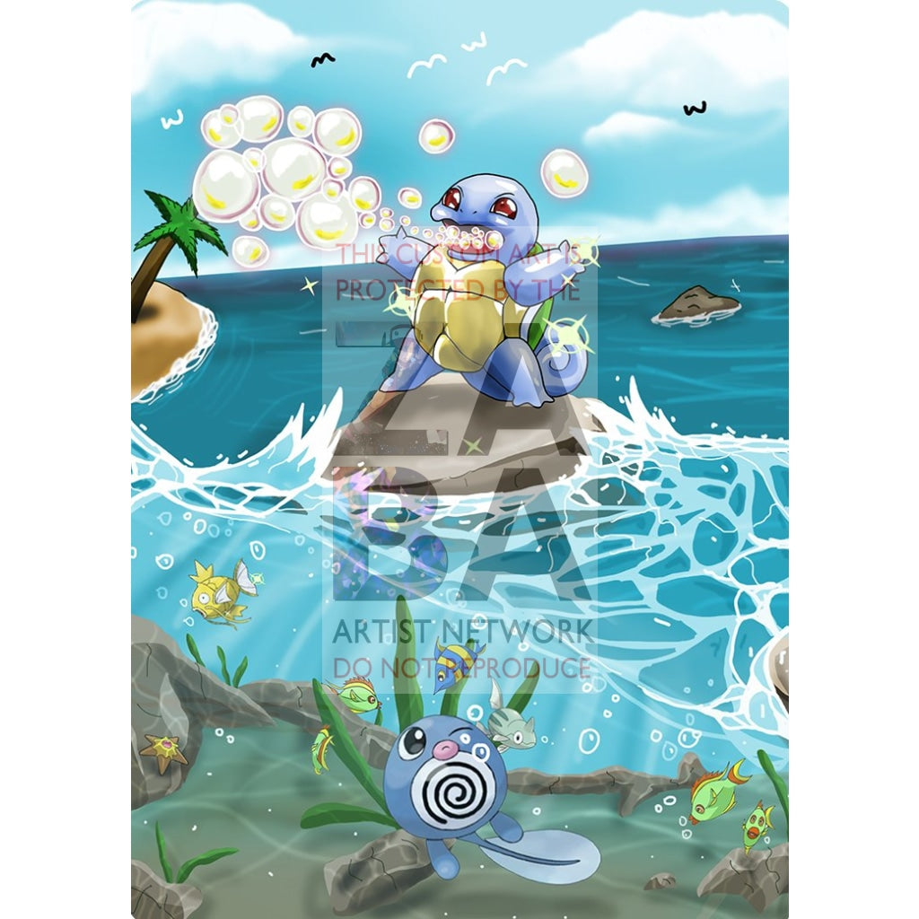 Shining Squirtle 63/102 Base Set Extended Art - Custom Pokemon Card Only