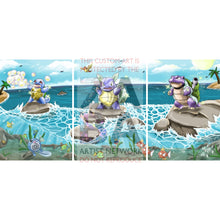 Shining Squirtle 63/102 Base Set Extended Art - Custom Pokemon Card Triple Pack Continuous
