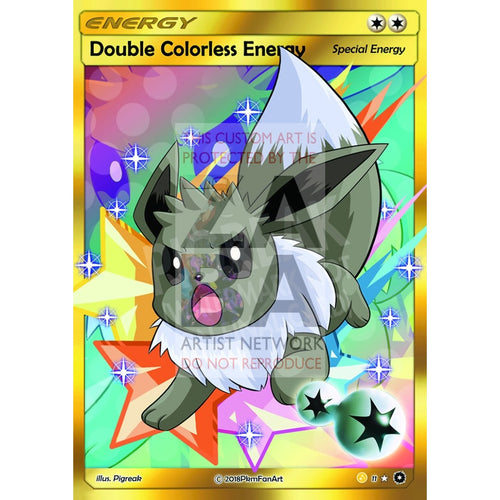Shiny Eevee Double Colorless Energy Pigreak Custom Pokemon Card