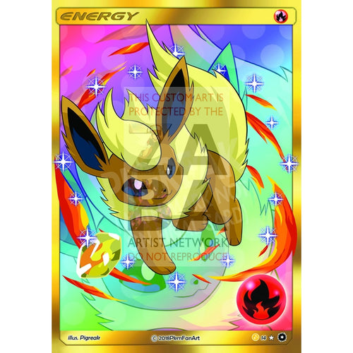 Shiny Flareon Fire Energy Pigreak Custom Pokemon Card