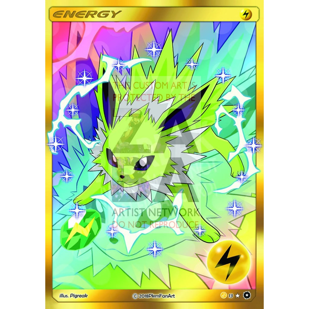 Shiny Jolteon Electric Energy Pigreak Custom Pokemon Card