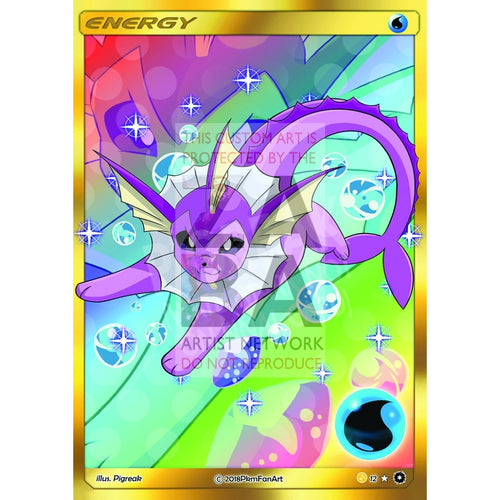 Shiny Vaporeon Water Energy Pigreak Custom Pokemon Card