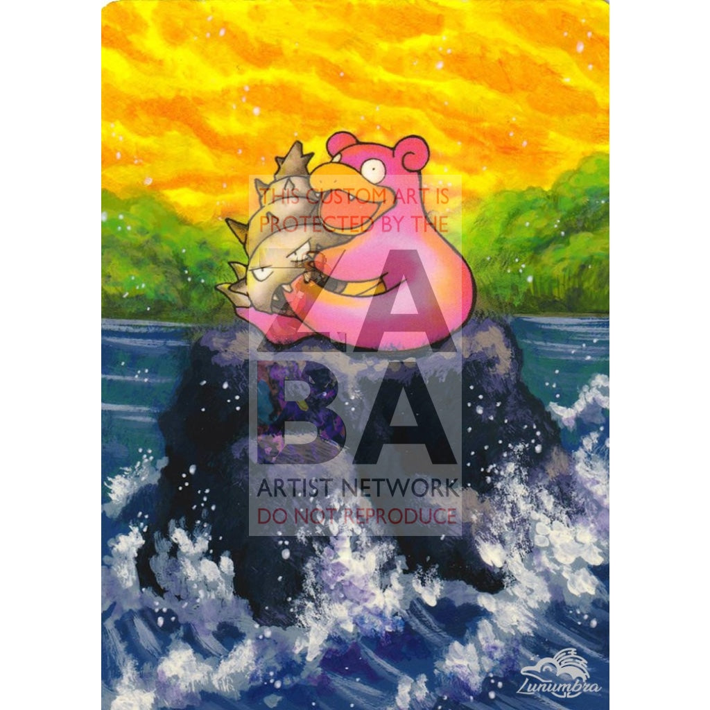 Slowbro 43/62 Fossil Extended Art Custom Pokemon Card Textless Silver Holographic