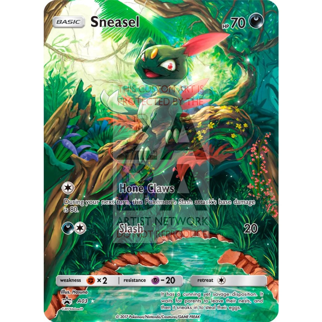 Sneasel 85/147 Burning Shadows Extended Art Custom Pokemon Card Silver Holographic