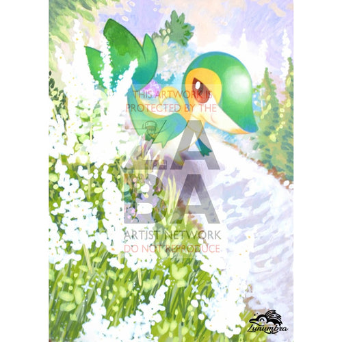 Snivy 5/124 Fates Collide Extended Art Custom Pokemon Card Textless Silver Holographic