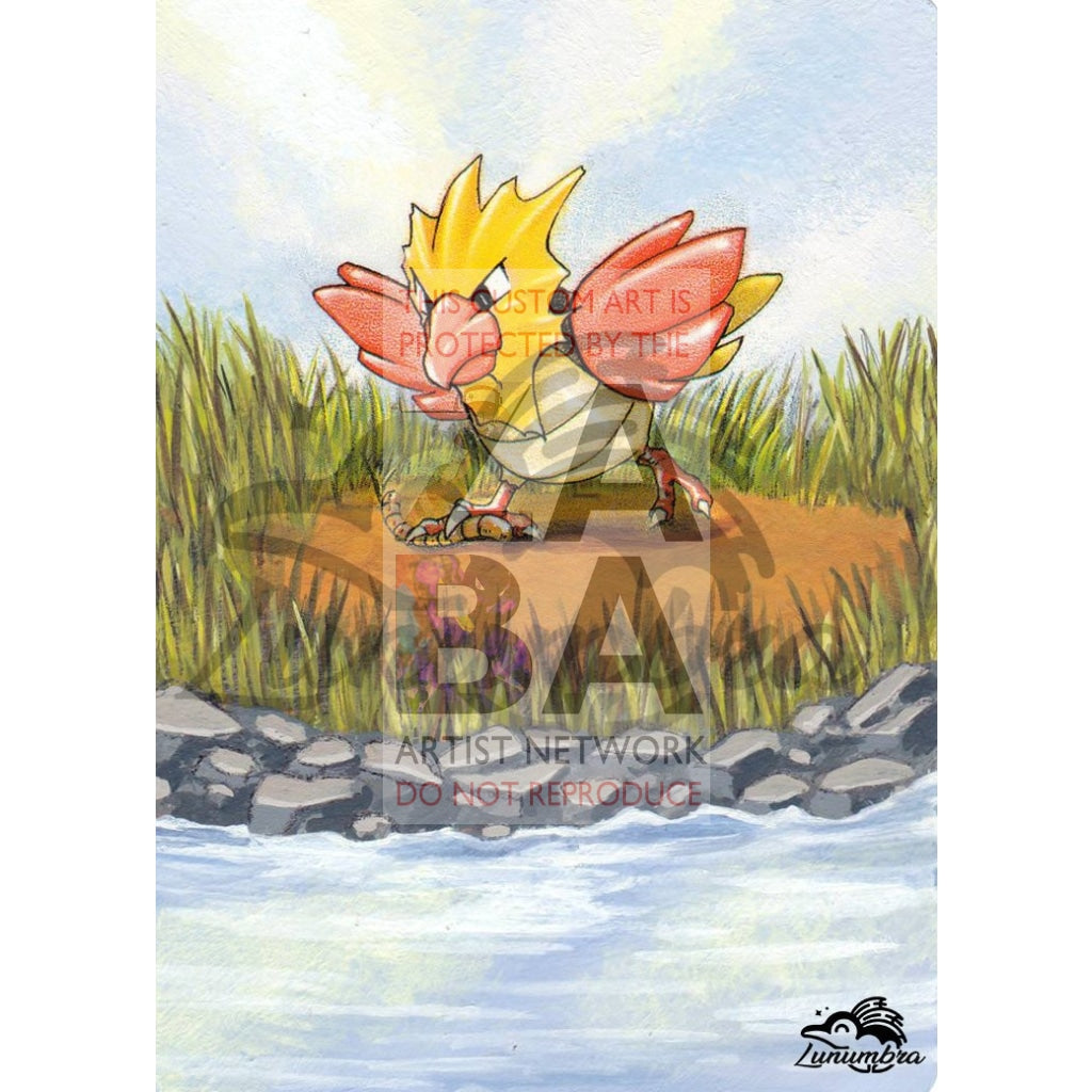 Spearow 62/64 Jungle Extended Art Custom Pokemon Card Textless Silver Holographic