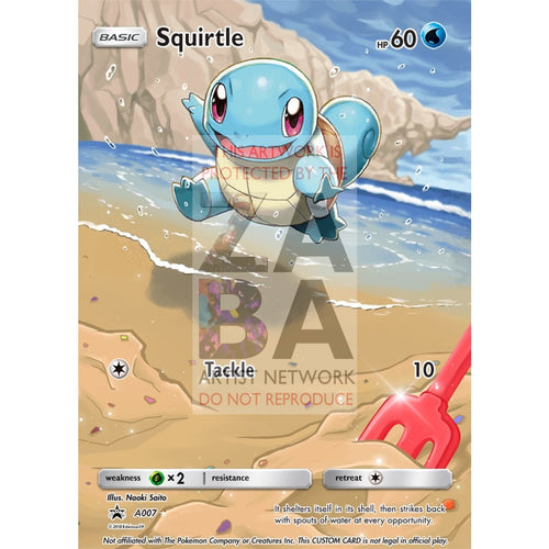 Squirtle 24/135 Plasma Storm Extended Art Custom Pokemon Card Silver Foil / Text
