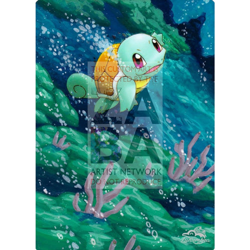Squirtle 63/100 Ex Crystal Guardians Extended Art Custom Pokemon Card Textless Silver Holographic