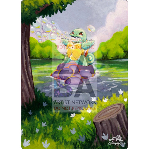 Squirtle 93/102 Base Set 2 Extended Art Custom Pokemon Card Textless Silver Holographic