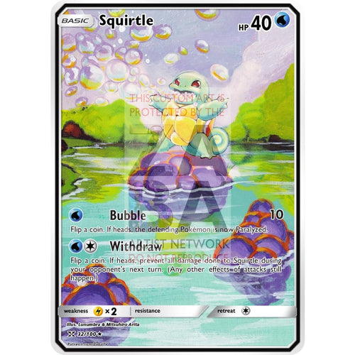 Squirtle Base Set 63/102 Extended Art Custom Pokemon Card Non-Holographic