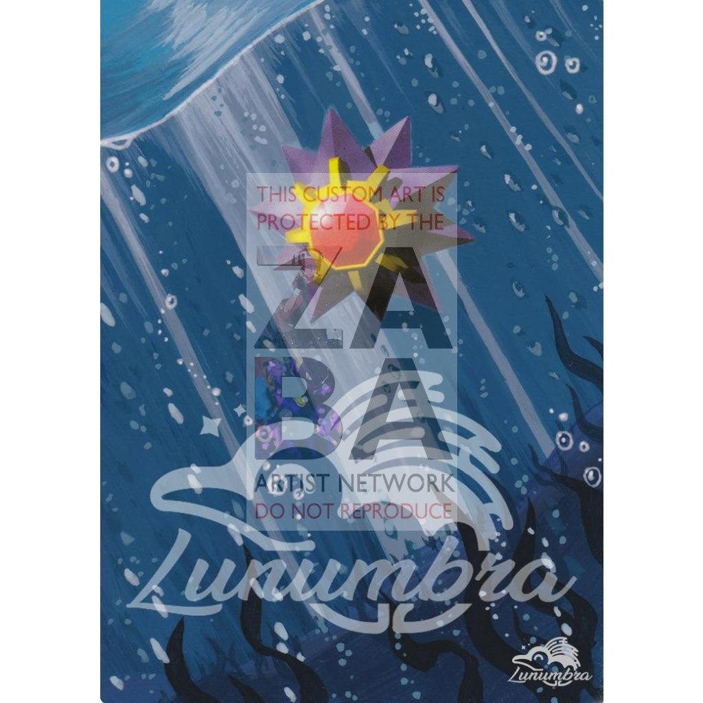 Starmie 64/102 Base Extended Art Custom Pokemon Card Textless Silver Holographic