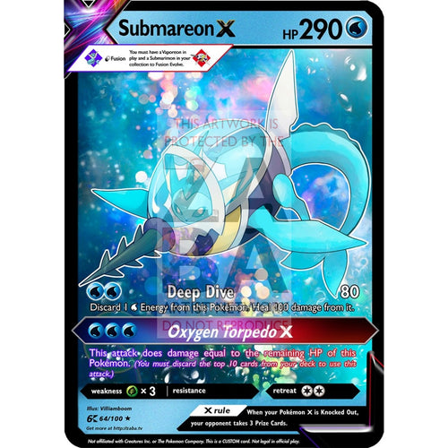 Submareon X (Submarimon X Vaporeon) Custom Pokemon Card