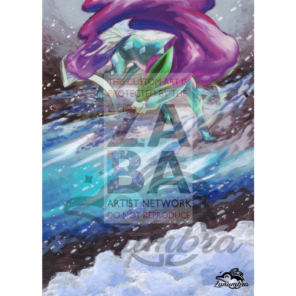 Suicune 59/214 Sun & Moon Lost Thunder Extended Art Custom Pokemon Card Textless Silver Holographic
