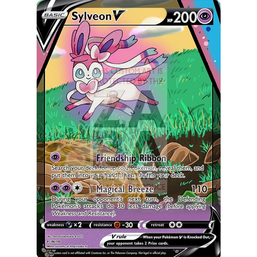 Sylveon V Custom Pokemon Card Silver Foil