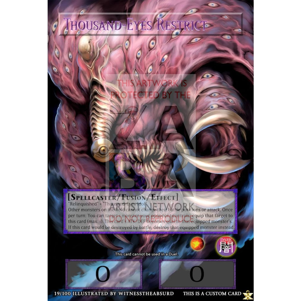 Thousand-Eyes Restrict Full Art Orica - Custom Yu-Gi-Oh! Card Silver Foil