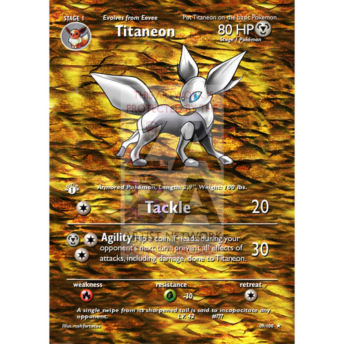 Titaneon (Eeveelution) Custom Pokemon Card Extended Plus Text
