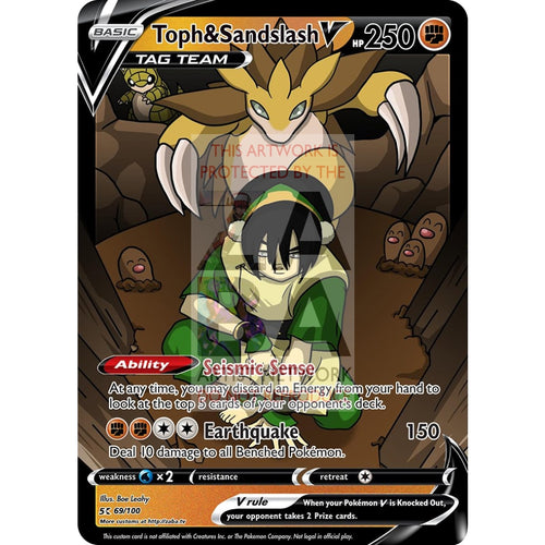 Toph & Sandslash Custom Atla X Pokemon Card Silver Foil