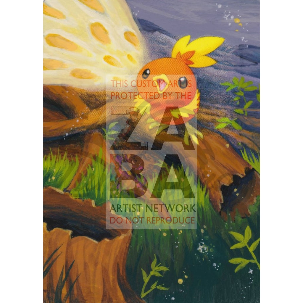 Torchic 99/133 Platinum Extended Art Custom Pokemon Card Textless Silver Holographic