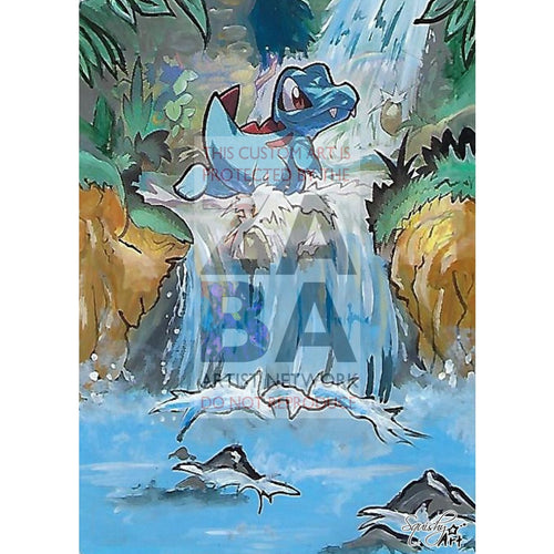 Totodile 18/73 Shining Legends Extended Art Custom Pokemon Card Textless Silver Holographic