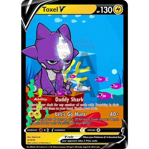 Toxel V (Baby Shark) Custom Pokemon Card Silver Foil